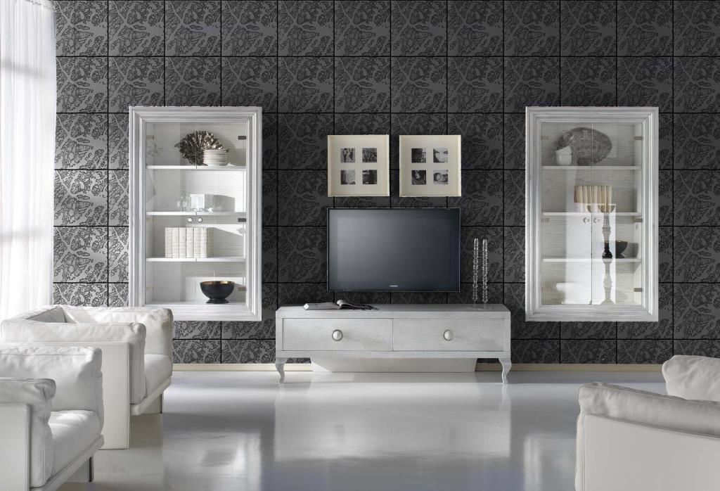 Vetrina sospesa e porta tv basso con parete moderna in for Parete attrezzata cornice sospesa